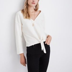 Madewell Texture Thread Tie Front Top Size Small